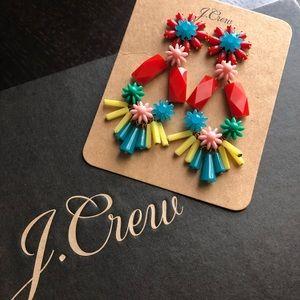 NWT J. Crew Flower-and-bead chandelier earrings